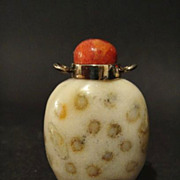 Chinese Fossil Stone Snuff Bottle, Silver Collar, Qing Dynasty