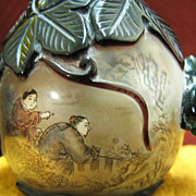 Chinese Peking Glass Snuff Bottle, Grapes & Squirrel, Qing Dynasty