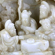 Chinese Carved White Jade Boulder, Scholars Chess & Music, Qing Dynasty