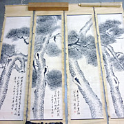 Chinese Paintings of Pine Trees, Four Panels, Signed