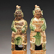 Chinese Ming Dynasty Pottery Warriors, Original Glaze, Pair (2)