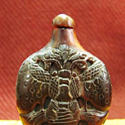 Chinese Carved Horn Snuff Bottle, Butterflies, Qing Dynasty