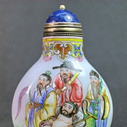 Chinese Peking Glass Snuff Bottle, The Eight Immortals, Signed
