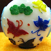 Chinese Peking Glass Snuff Bottle, Butterflies of Infinite Happiness