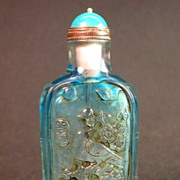 Chinese Peking Glass Snuff Bottle, Blue Birds & Blossoms, Signed