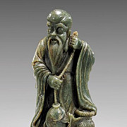Chinese Spinach Jade Immortal Shou With Fish, Abundant Long Life, Qing Dynasty