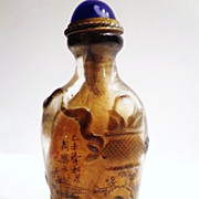Chinese Peking Glass Snuff Bottle, Signed Zhou Le Yuan, Qing Dynasty