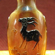 Chinese Carved Peking Glass Snuff Bottle, Spotted Deer & Crab, Signed