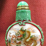 Chinese Carved & Painted Peking Glass Snuff Bottle, Dragon, Signed