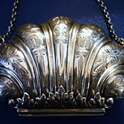 Exquisite Chinese Sterling Silver Shell Case, Lotus, Bats, Dragonflies, Qing Dynasty