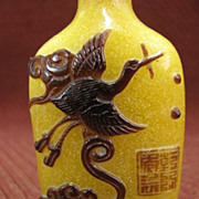 Chinese Peking Glass Snuff Bottle, Crane & Fish, Signed