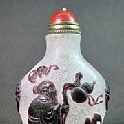 Chinese Peking Glass Snuff Bottle, Shou & Five Bats, Signed