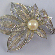 Low Grade Silver Filagree Faux Pearl Pin