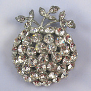 SALE Bright and Clear Rhinestone Pot Metal Apple Pin