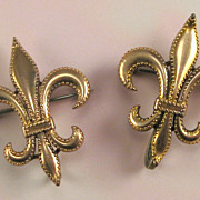 Pair of Vintage Gold Filled Fleur-de-Lis Watch Pins