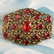 Large Red Rhinestone Gold Tone Pot Metal Pin