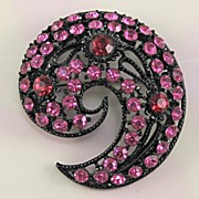 SALE Pink and Red Rhinestone Paisley Japanned Bold Pin