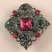 SALE PENDING Openwork Silvertone Pink, Red and Green Rhinestone Pin