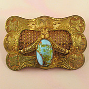Victorian Gold Wash Brass Sash Pin with Art Glass Cabochon