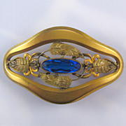 Victorian Brass Gold Washed Blue Glass Sash Pin