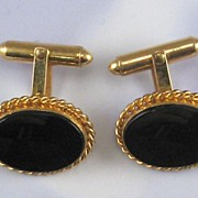 SALE Gold Filled Onyx Cufflinks
