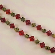 Vintage Molded Red Glass and Stamped Brass Square Beads Necklace