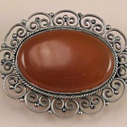 800 Silver Red Glass Stone Pin