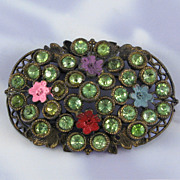 Vintage Pot Metal Green Rhinestone Enamel Paint Pin