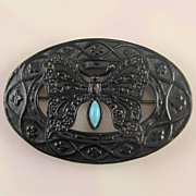 Japanned Butterfly Sash Pin with Blue Glass Stone