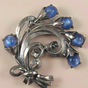 Unsigned Coro Pot Metal Blue Moonglow Glass Flower Pin