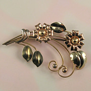 Rose and Yellow Gold Filled Flower Pin