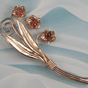 Sterling Silver Gold Washed Red Rhinestone Flower Pin