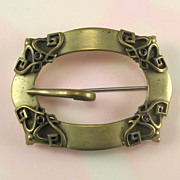 Victorian Buckle Style Brass Sash Pin with Purple Rhinestones