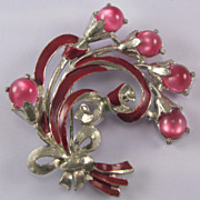 Coro Pot Metal Pink Moonglow Glass Flower Pin