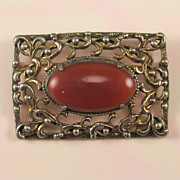 Vintage Brass Opaque Red Glass Sash Pin