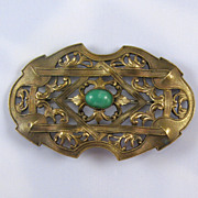 Victorian Brass Green Art Glass Sash Pin