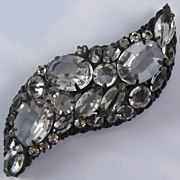 Chunky Bold Clear Unfoiled Rhinestone Japanned Pin