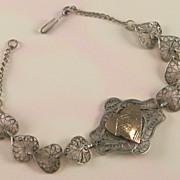 Sterling Silver Filigree Bracelet Egyptian Pyramid Heart Center