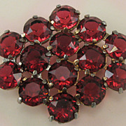 Large Red Rhinestone Pot Metal Pin