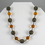 Vintage Amber Glass and Brass Filigree Bead Necklace