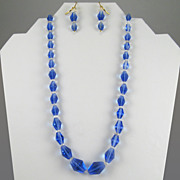 Vintage Graduated Blue and Clear Glass Bead Necklace and Pierced Earrings