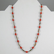 Vintage Molded Red Glass Beads and Brass Links Necklace
