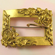 Gold Washed Brass Sash Pin with Roses