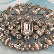 Huge Bold Chunky Clear Rhinestone Pot Metal Pin