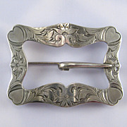 Sterling Silver Sash Pin with Heart Corners