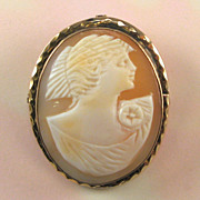 Vintage Shell Cameo Gold Filled Setting Pin Pendant
