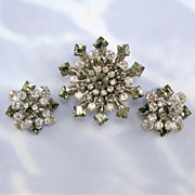 SALE Smokey Gray and Clear Rhinestone Pin and Clip Earring Set