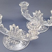 REDUCED Pair Fostoria Baroque Meadow Rose Etched Duo Candle Holders