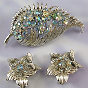 Coro Light Blue AB Rhinestone Pin Clip Earrings Set
