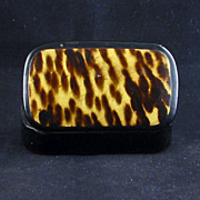 Small late 19th Century lacquer box with faux tortoise shell finished lid